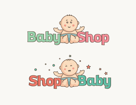 Cute baby logo. Cute toddler in diaper. Illustration