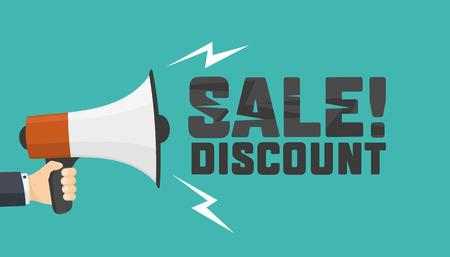 Shouts megaphone. Announcement of discount. Vector Design
