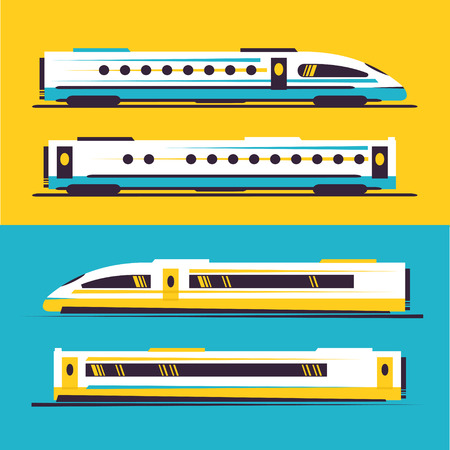 Passenger speed (express) train. Flat style vector illustration