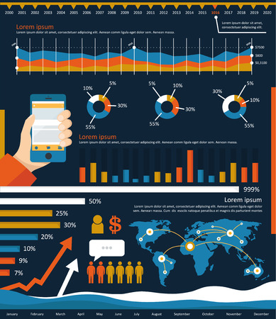 Infographic elements including statistical graphs, charts for business reports and presentation. Illustration