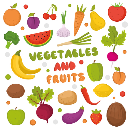 Colorful fruits and vegetables set. Template for cooking, restaurant menu Ilustrace