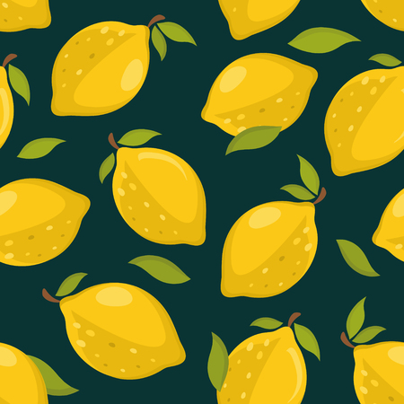 Seamless pattern with lemons on a dark background