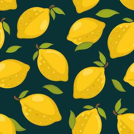Seamless pattern with lemons on a dark background Reklamní fotografie - 109903348