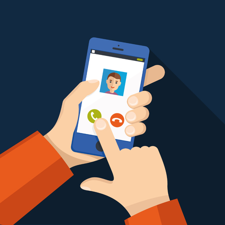 Incoming call on smartphone screen. Calling service. Hand holds smartphone, finger touch screen. Illustration