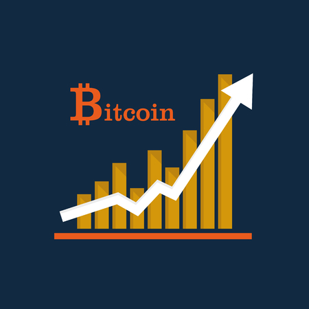 Financial arrow up to bitcoin currency. Growth vector diagram. Success business symbol