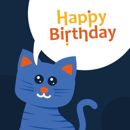 Happy birthday greeting card cat. Flat design