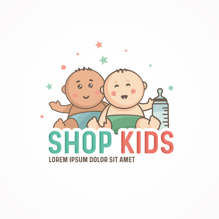 Two cute baby in a diaper. kids logo design template.