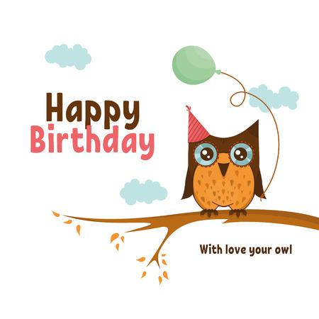Vector birthday card with cute owl
