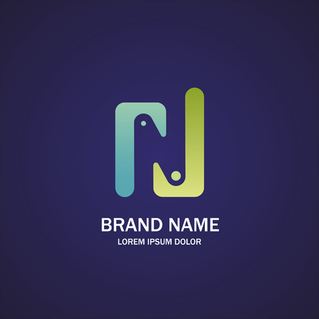 Abstract letter N logo design template. Фото со стока