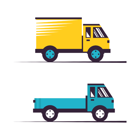 Cargo Trucks. Delivery Services, Shipping and Freight of Goods, Vector Illustration Ilustração