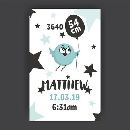 Baby Shower poster template. Newborn metrics