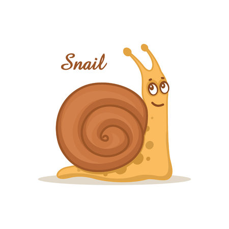 Cute snail on white background Stock Vector - 121813569