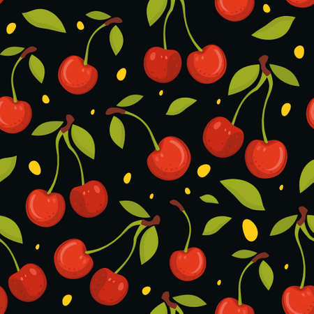 Seamless pattern with cherries on black backgroun