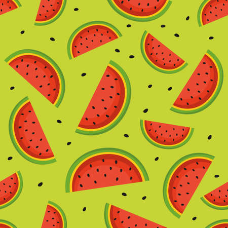 Seamless pattern with watermelon slices. Illustration
