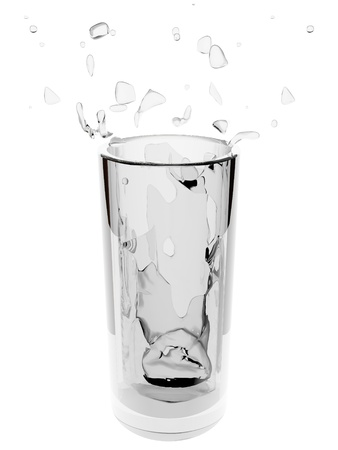Glass with water on white background Stock Photo