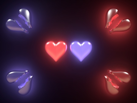 Broken hearts with glow on black background Stock Photo