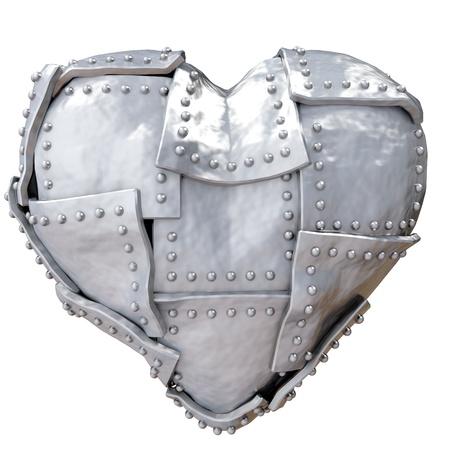 Image of iron heart over white background photo
