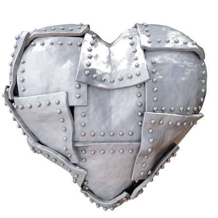 heart beat: Image of iron heart over white background