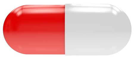 Red-white shiny pill isolated on white