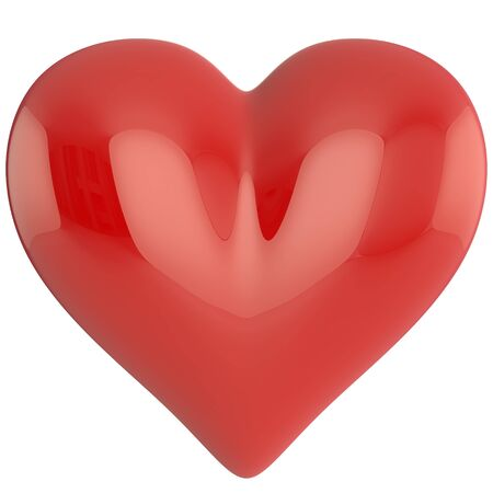 Red heart with highlights on white background
