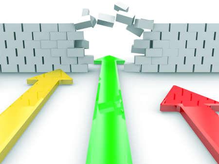 strenght: A Green Arrow Breaks Through A Brick Wall