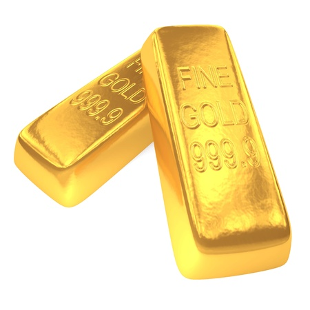 Two shiny gold bars on white background