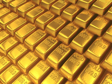 An array of shiny gold bars photo