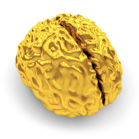 Golden brain with shadow on white background