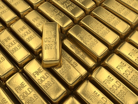 An array of shiny and beautiful gold bars photo