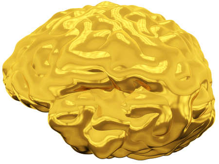 Golden brain with reflections on white background Stock Photo