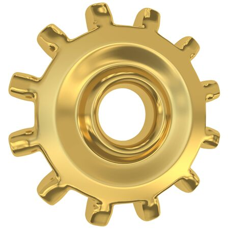 Golden gear isolated on white background Stock Photo