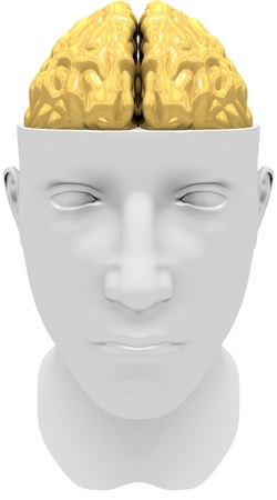 Human face with golden brain isolated on white
