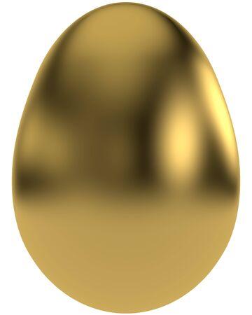 Shiny golden egg isolated on white backgroung