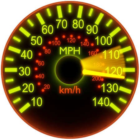 3d illustration of speedometer with bright glow  Stock Photo