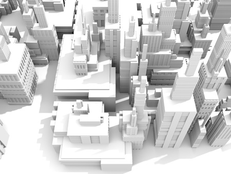 group of objects:  3d render of a white city model