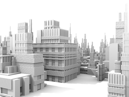 futuristic city: 3d render of a white city model
