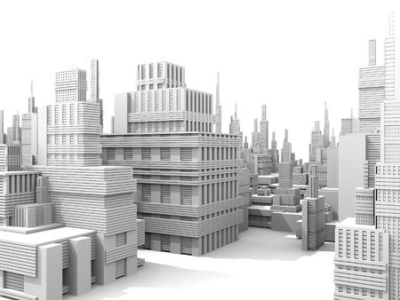 the center of the city: render 3D de un modelo de ciudad blanca  Foto de archivo