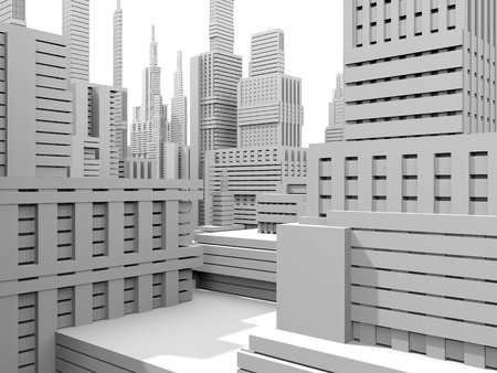 3d render of a white city model