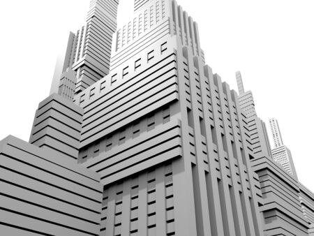 3d render of a white city model