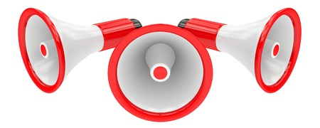 3d Megaphone with red & black parts isolated on white background