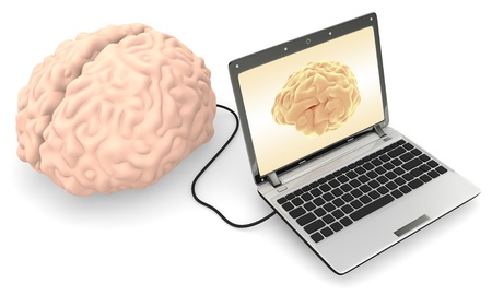 A Computer connected to a human brain on white background