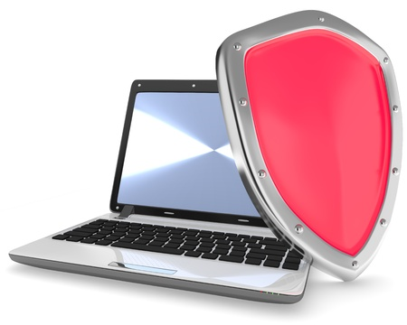 illustration of laptop computer and red shield isolated on white Stock Photo