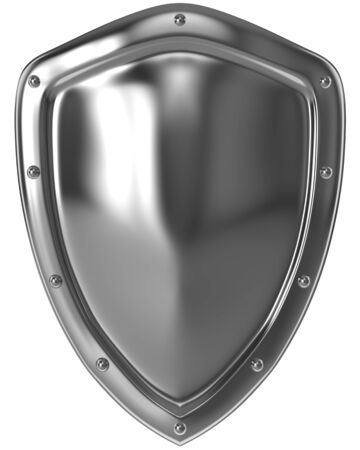 3d shield: Shiny silver shield isolated on white background