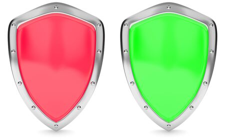 Red and green shield isolated on white