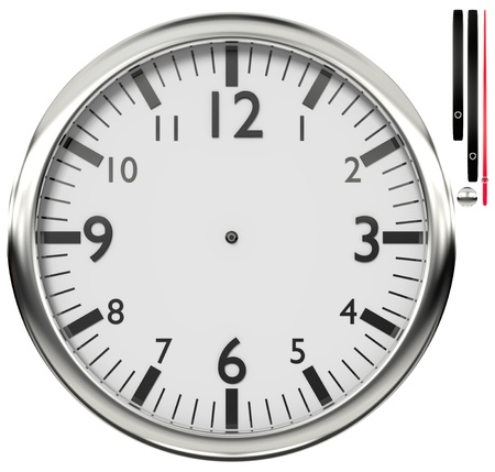 Shiny wall clock isolated on white background  Stock Photo