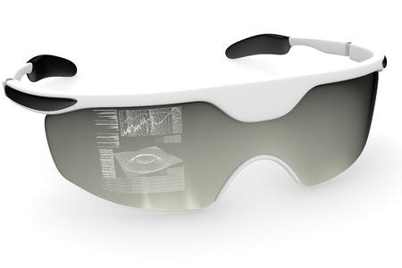 holographic: Olografici occhiali del futuro isolato su sfondo bianco