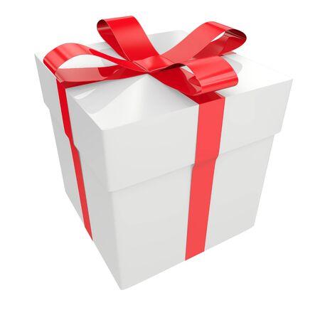 White gift box isolated on white background