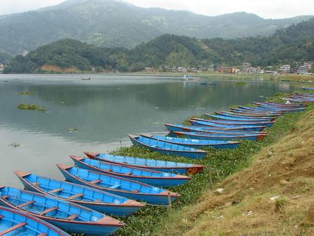 pokhara: Fishing boats at Pokhara lake Editorial