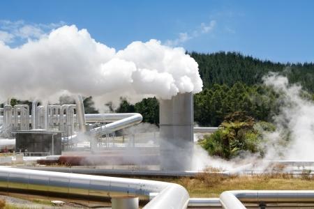 Geothermal power station smoking Stock Photo