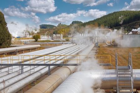Geothermische elektriciteitscentrale Stockfoto